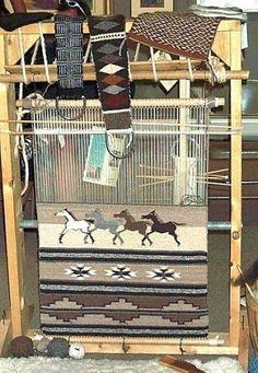 Roy Kady The Horse Song Navajo tapestry Weaving Tools, Weaving Projects, Loom Weaving, Navajo Art, Navajo Rugs, Navajo Weaving, Tapestry Weaving, Native American Rugs, Peg Loom