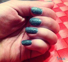Sparkle/Light blue nails