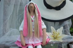 Купить Кукла Зая - розовый, белый, зая, заичьи ушки, капюшон с ушами, тильда, кукла