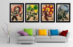 Marvel Avengers 4 Minimalist Poster Set, Captain America, Hulk, Iron man, Thor Movie Poster, Art Print