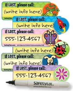 Safety info tatoos - great for the cruise/travel/Disney
