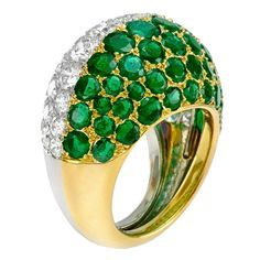 CARTIER COCKTAIL RINGS   CARTIER An Emerald and Diamond Bombe Ring at 1stdibs