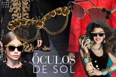Óculos de Sol: O maximalismo toma conta dos óculos | Maxi sunglasses inspired by baroque fashion shows moodboard