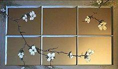 Window Mirror Art Painting Blooming Dogwood Flowers. $350.00, via Etsy.