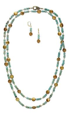 Single-Strand Necklace and Earring Set with Cultured Freshwater Pearls, Turquoise Gemstone Beads and SWAROVSKI ELEMENTS
