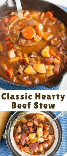 A rich and hearty beef stew recipe that's perfectly seasoned and full of potatoes and carrots. This classic is sure to fill you up!