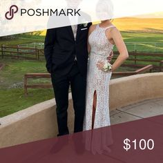 """Long prom dress lace tight size 1 Super cute dress. Wore 1 time. Stretchy material. Thick crochet type lace is over flesh colored material. My daughter is 5'3"""" and wearing 4"""" heels. Dresses Prom"""