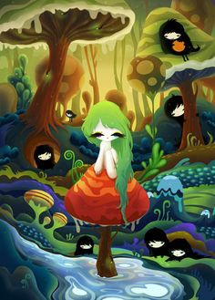 Zutto - Mushroom Girl and Lil Black Guys