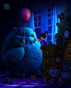 The Art Of Animation, Eduardo Berazaluce - . Monster Art, Creepy Monster, Little Monsters, Cute Monsters, Creepy Pictures, Arte Horror, Objet D'art, Whimsical Art, Cartoon Art