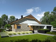 Daniel is a house designed for a family who appreciates the noble elegance, modern comfort and convenient connections and. Modern Architecture House, Modern House Design, Style At Home, Single Storey House Plans, 2 Bedroom House Plans, Farm Plans, Facade House, Design Case, Cottage Homes