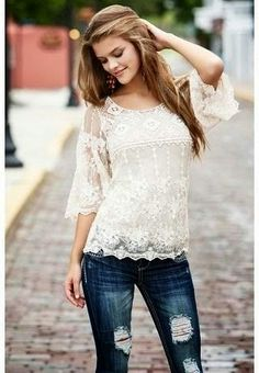 White half sleeves lace blouse with dark blue casual denim stylish jeans