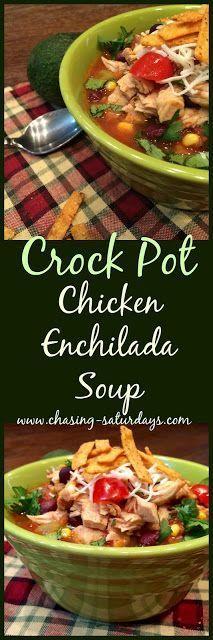 Crock Pot Chicken Enchilada Soup, slow cooker, easy meal, Chasing Saturdays