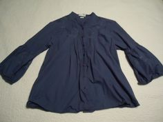 VanHeusen-Womens-L-Cotton-3-4-Sleeve-Pretty-Embroidered-Blue-Button-Front-Blouse