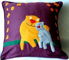"Handmade applique nursery cushion cover ""Two Funny Cats"""
