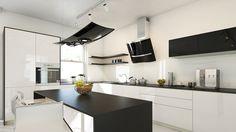 Kuchnia w nowoczesnym stylu z okapem kuchennym Altemo Black marki GLOBALO Kitchen Reno, Kitchen And Bath, Kitchen Dining, Kitchen Cabinets, Black And Grey Kitchen, Apartment Interior Design, Black Decor, Luxury Living, Home Design