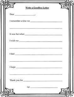 Lorinda-Character Education: Grief Stages and Goodbye Letter