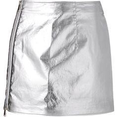 Paco Rabanne metallic mini skirt (7.648.895 IDR) ❤ liked on Polyvore featuring skirts, mini skirts, grey, metallic skirt, grey skirt, short mini skirts and gray skirt