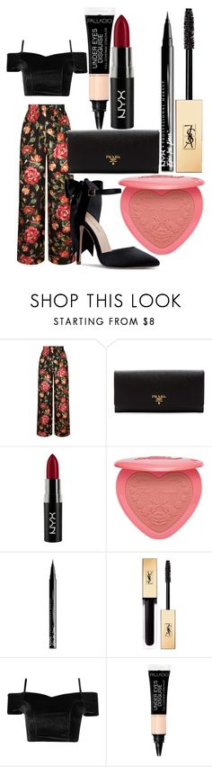 """""""knocking on your heart"""" by crystalmendes on Polyvore featuring Dolce&Gabbana, Prada, NYX, Too Faced Cosmetics and Yves Saint Laurent"""