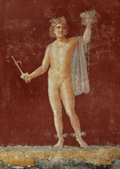 Pompeian Red [background] from a fresco of Perseus with the head of Medusa from Villa San Marco at Castellammare di Stabia near Pompeii