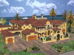 See the Cedar Palm Luxury Florida Home that has 6 bedrooms, 6 full baths and 2 half baths from House Plans and More. Large House Plans, Coastal House Plans, House Plans And More, Luxury House Plans, Dream House Plans, House Floor Plans, Mansion Floor Plans, Mediterranean House Plans, Mediterranean Home Decor