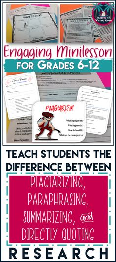 Teaching writing in high school can be challenging because of the prevalence of plagiarism. Every year, students need a writing lesson refresher. Use this engaging and relevant plagiarism mini-unit to remind your students about the difference between plagiarizing, paraphrasing, summarizing, and directly quoting research.