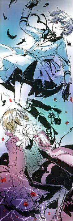 Ciel Phantomhive and Alois Trancy Black Butler Ciel, Black Butler Kuroshitsuji, Ciel Phantomhive, Manga Anime, Anime Art, Ciel And Alois, Alois Trancy, Book Of Circus, Fanart