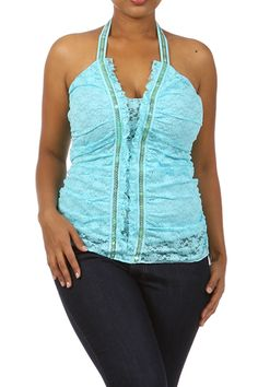 Aqua Blue Lace Knit Sequin Sexy Corset Stretch PLUS SIZED Halter Top from DestYni Boutique.