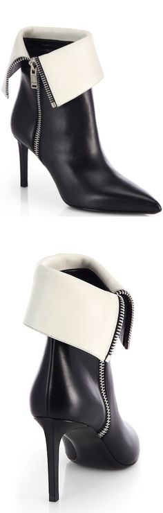 Saint Laurent Bicolor Leather Fold-Over Ankle Boots Pre-Fall 2014 #Booties #Shoes #Heels
