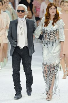 Karl Lagerfeld & Florence Welch!  Chanel Spring 2012  Paris