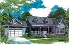 Country Style House Plans - 1648 Square Foot Home , 1 Story, 3 Bedroom and 2 Bath, 2 Garage Stalls by Monster House Plans - Plan 14-134