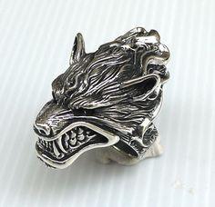 Wolf Werewolf Head Heavy 925 Sterling Silver by Bikerringstore