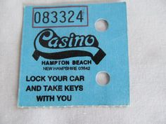 Hampton Beach Casino Concert Parking Ticket Parking Paper Ephemera Scrapbook Supplies NH Seacoast Souvenir  ReVintageLannie.Etsy.com