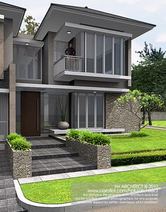 Competition - Puri Botanical Residence by yudho patrianto at Bungalow House Design, House Front Design, Minimalist House Design, Modern House Design, Casa Mix, Modern House Plans, Facade House, Exterior Design, Building A House
