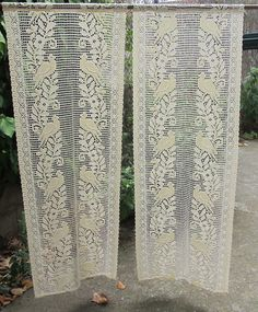 ecru lace crocheted curtains french lace panels [courtains panels, 6-10 cm each, about 2m long... maybe?]