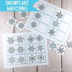 Snowflake Matching & Mitten Matching: Winter Visual Discrimination Games - Snowflake Matching Cards Printable: Winter Visual Discrimination Skills for Pre-K, Preschool - Preschool Themes, Preschool Printables, Preschool Crafts, Preschool Curriculum, Free Preschool, Free Math, Toddler Crafts, Kid Crafts, Homeschool