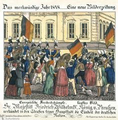 """An Announcement by Frederick William IV   Caption: """"In the streets of his capital, His Majesty Frederick W IV, King of Prussia, announces the unity of the German nation."""" After street fighting shook Berlin on March 18-19, 1848, King Frederick William IV gave in to the citizens' revolt, promising to introduce various liberal reforms and to convene a Prussian National Parliament. Shown here in a Berlin parade on March 21, the king wears an arm band in the colors of the revolution"""