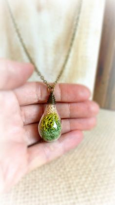Moss necklace  Real moss necklace  Nature by FlowerGiftByNature