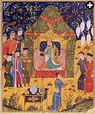 Initially used as simple shelters by nomadic peoples on the Central Asian steppe, tents had evolved into luxurious portable abodes by the time of Genghis Khan, the Mongol conqueror who ruled a vast region at his death in 1227. This illustration comes from a 14th-century Persian manuscript