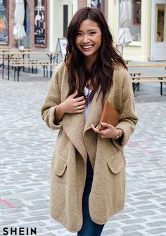 6b9a618ea164b Khaki Lapel Long Sleeve Loose Sweater Coat -SheIn(Sheinside) Loose Sweater
