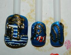 Betsey Johnson inspired nails :D Anchor, fish, and all trailing to a boat!