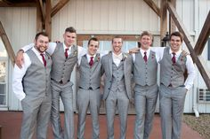 Natural makeup, neutral and pastel bridesmaid dresses and gray groom and groomsmen attire is what's in step for spring. Burgundy And Grey Wedding, Maroon Wedding, Wedding Men, Wedding Groom, Wedding Suits, Fall Wedding Tuxedos, Grey Tuxedo Wedding, Garnet Wedding, White Tuxedo