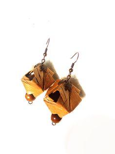 "Wood Rustic Yellow earth Origami earrings ""Aliens"", geometric paper earrings, minimalist origami earrings, rustic paper earrings, wood beads by TheWorldinpaper on Etsy"