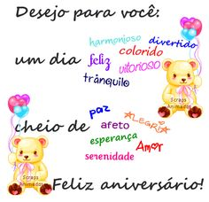 Feliz Aniversário                                                                                                                                                                                 More Disney Christmas Decorations, Birthday Clips, Emoticon, Congratulations, Happy Birthday, Clip Art, Messages, Lettering, Thoughts