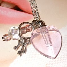 Pink Perfume Bottle Necklace