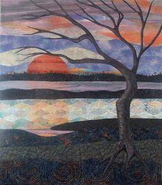 Fiber Art Quilts-Landscape.  Sunset Reflections 38 x 33 inches