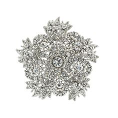 """Five sided floral brooch, lavishly embellished with crystal.  2.5"""" across."""