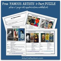 10 Page art resource for parents & educators. Contains 12 Artist Data cards [ can be used as a 3 part puzzle] Plus a 2 page Art Appreciation worksheet to introduce Famous Artists to young kids. Artists Covered - Leonardo da Vinci, Vincent Van Gogh, Claude Monet, Pablo Picasso, Georgia O Keefe, Henry Matisse, Piet Mondrian, Joan Miro, Andy Warhol, Sonia Delaunay, Romero Britto , Paul Klee. ♥ ♥ ♥ WHAT YOU GET ♥ ♥ ♥. Instant Digital Download: 1 PDF included. 12 Artist Cards plus a 2- page ar...