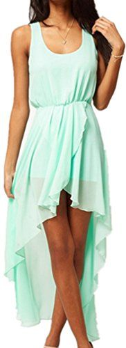SenseFit Blasting Short Long Sexy Irregular Skirt Sleeveless Chiffon Dress S Mint SenseFit http://www.amazon.com/dp/B011GD3ATM/ref=cm_sw_r_pi_dp_l.G2vb1618KXP