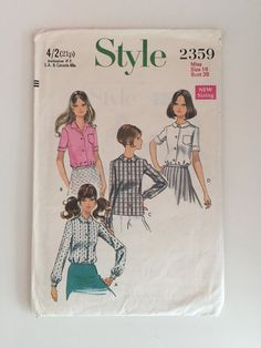 Style 2359 1960s Sewing Pattern / Collared Blouses by stylesixties #60s #vintage #sewing #dressmaking #handmade