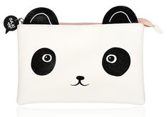 Who says Panda eyes aren't cute? This adorable Panda Cosmetic Bag from Korean beauty brand Oh K! is made with durable polyurethane and topped with panda ears and a pale pink zip. Panda Makeup, Korean Beauty Brands, Panda Eyes, Design3000, Kawaii Bags, Cartoon Panda, Faces Cosmetics, Quirky Gifts, Cute Panda